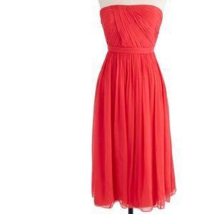 J. Crew Mindy Silk Chiffon Dress in Strawberry 12